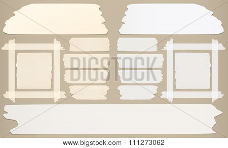 Frame with horizontal and different size sticky tape, adhesive pieces on brown background