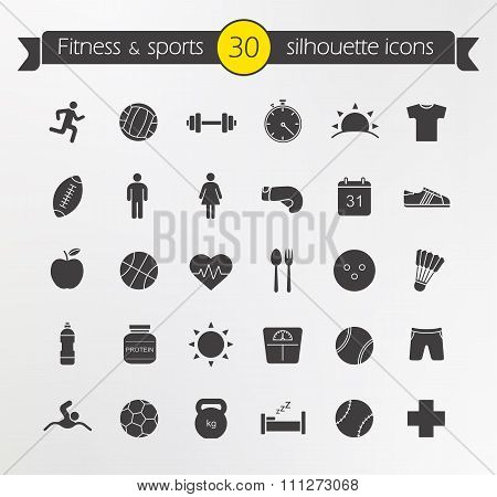 Fitness silhouette icons set