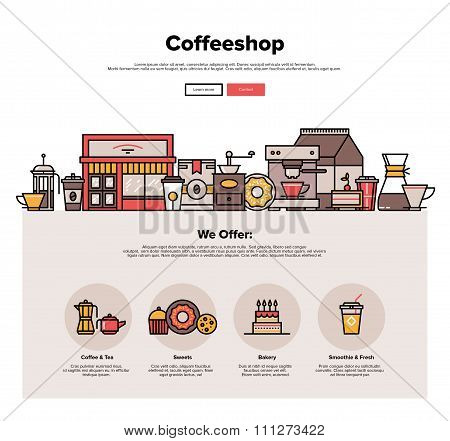 Coffee Shop Flat Line Web Graphics