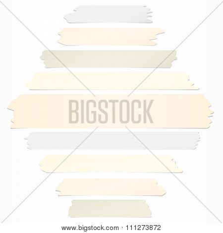 Set of horizontal and different size sticky tape, adhesive pieces on white background