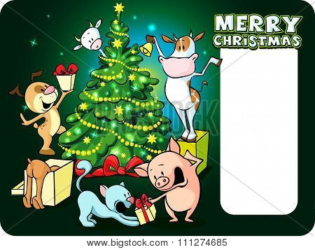 Farm Animals Celebrate Christmas Under The Tree - Vector Illustration Xmas Card