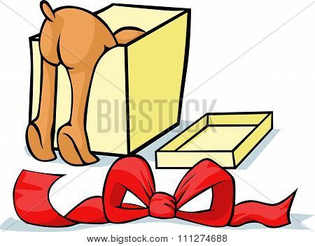 Pet Looking For A Gift In A Box - Cheerful Vector Illustrations