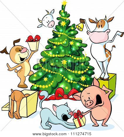Farm Animals Celebrate Christmas Under The Tree - Vector Illustration Isolated On White