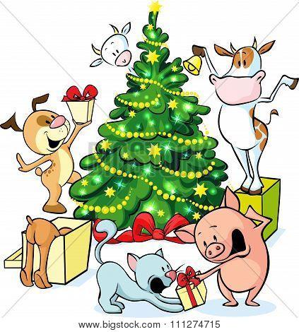 Farm Animals Celebrate Christmas Under The Tree - Vector Illustration Isolated On White