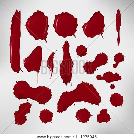 Realistic blood drops set. Vector illustration of assorted red ink splatters