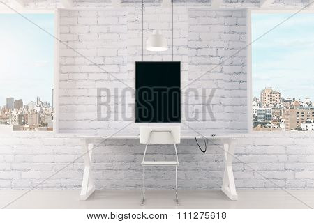 Blank Black Picture Frame On White Brick Wall And Windows In Loft Room, Mock Up