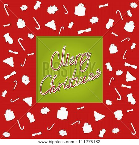 Christmascard typography, handwriting, cutted