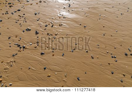Water-smoothed Wet Sand Pattern In Cote D'opale, France