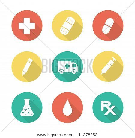Medical flat design long shadow icons set