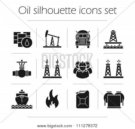Oil production silhouette icons set