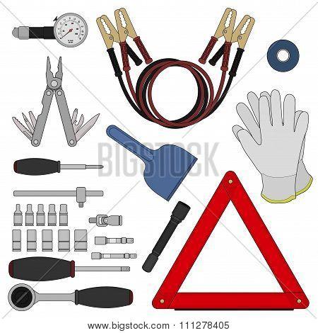 Emergency car kit. Color