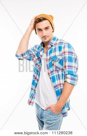 Handsome Confident Young Man In Hat