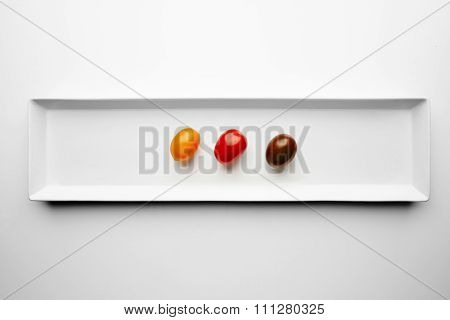 Three Different Cherry Tomatoes Isolated