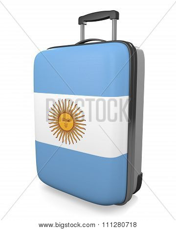 Argentina vacation destination concept of a flag painted travel suitcase