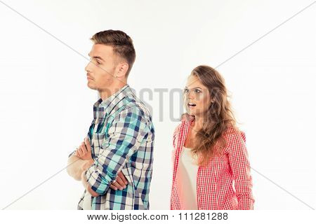 Annoyed Young Woman Shouting At Her Boyfriend