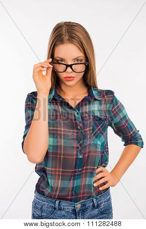 Sexy Young Student Girl In Glasses On White Background