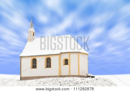 Standing Alone Detached Building Of Snow-covered Small Chapel