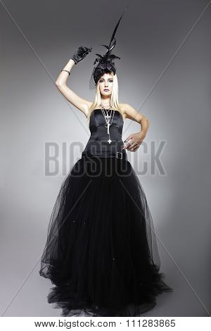 Model In A Black Bohemian Dress