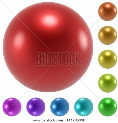 Color glossy spheres set isolated on white background.