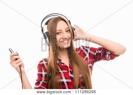 Nice Pretty Girl Listening To Music In Head-phones