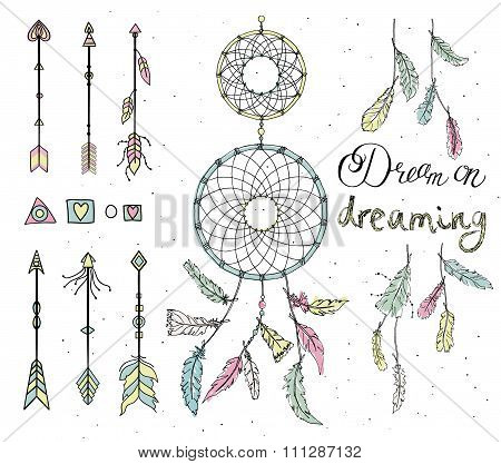 Set Of Drawn Feathers, Dream Catcher, Beads, Geometric Elements, Arrows