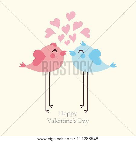 Vector lovely bird couples dating for Valentine's background