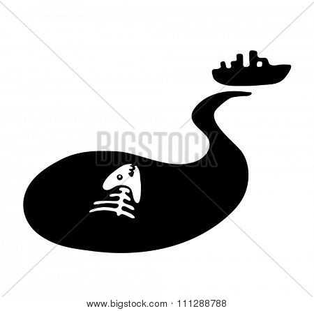 fish bone in in polluted water, Water pollution concept, illustration