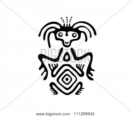 black alien in native style, illustration