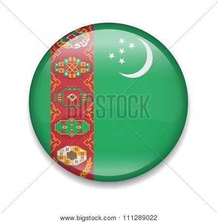 Turkmenistan Button Flag