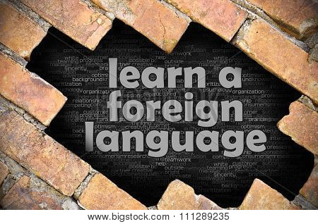 Hole In The Brick Wall With Word Learn A Foreign Language