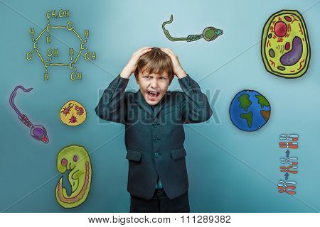 Teen boy businessman holding his hands behind his head shouts ic
