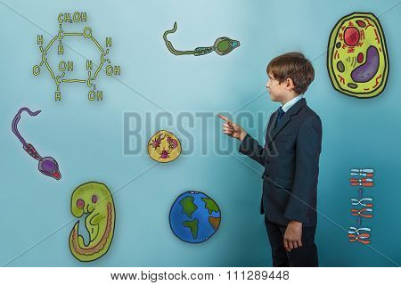 Teen boy businessman turned sideways and points a finger at Icon