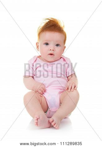 Baby In Pink Jumpsuit On White Background
