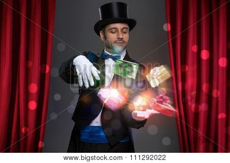 Magician have magic in his hands and making illusion with magic gift