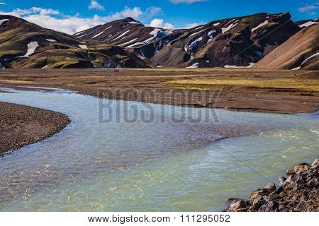 Central Valley in the national park Landmannalaugar, Iceland. Summer floods blocked the way to the tourist camping