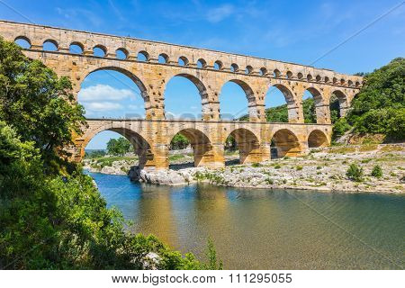 Aqueduct of Pont du Gard - the highest in Europe. The bridge is built on the river Gardon in Provence