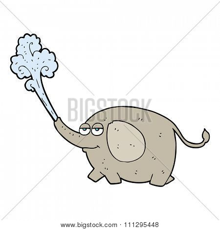 freehand drawn cartoon elephant squirting water