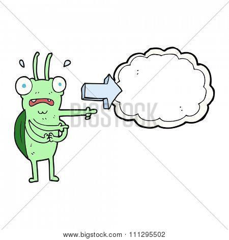 freehand drawn cartoon bug pointing
