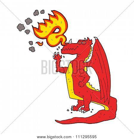 freehand drawn cartoon happy dragon breathing fire