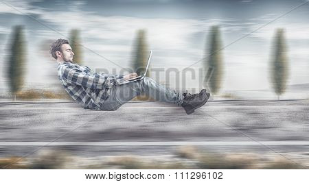 Fast Levitating Businessman