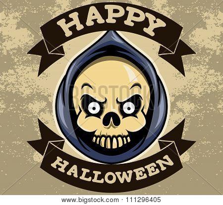 Reaper Head Halloween Badge