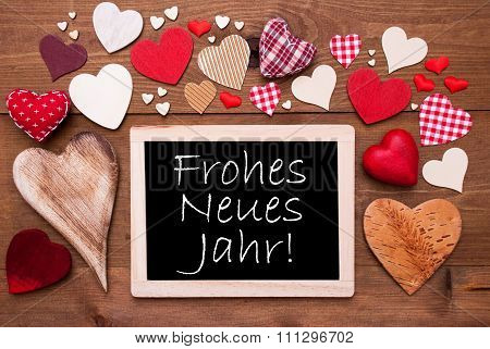 One Chalkbord, Many Red Hearts, Frohes Neues Means New Year
