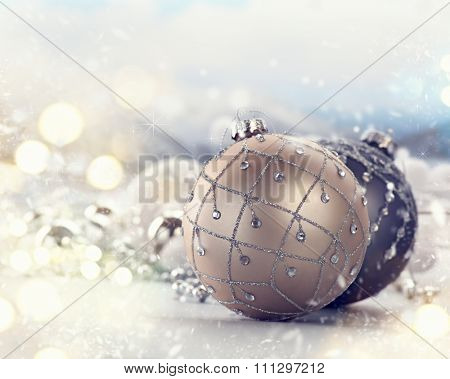 Christmas holiday Baubles, beautiful Christmas and New Year Decoration closeup.