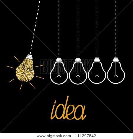 Hanging Gold Glitter Light Bulbs. Dash Line. Perpetual Motion. Idea Concept.