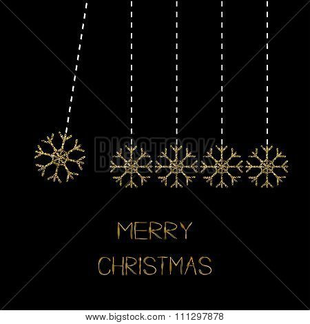 Five Hanging Snowflakes. Dash Line. Gold Glitter. Perpetual Motion. Merry Christmas. Black Backgroun