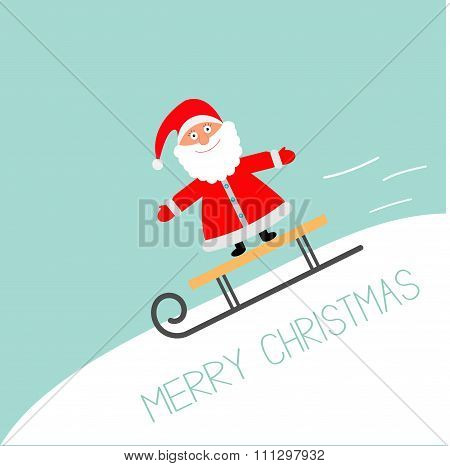 Sleigh With Santa Claus  Rolling Downhill Motion Line Blue Background. Merry Christmas Greeting Card