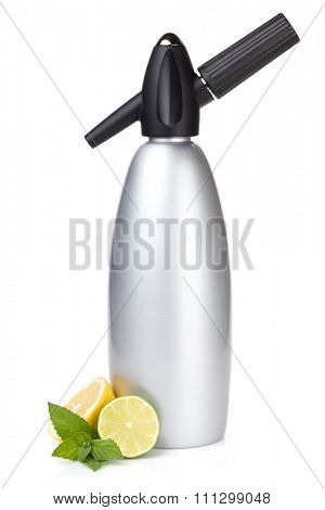 Soda siphon and citruses for home lemonade. Isolated on white background