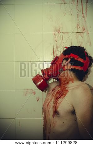 poison naked man with gas mask red blood in a bathroom