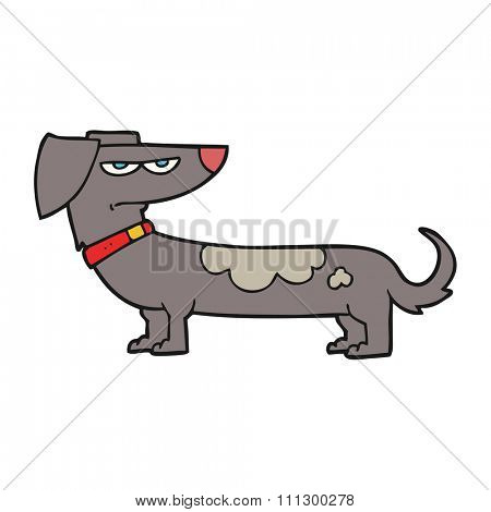 freehand drawn cartoon annoyed dog