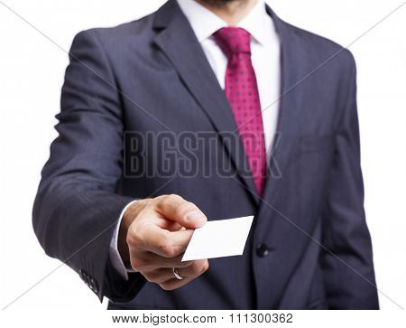 Businessman giving business card, isolated on white background